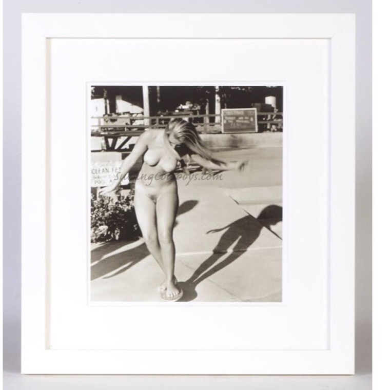 Hollywood Skateboard Nude, Black and White Photo, 1960s