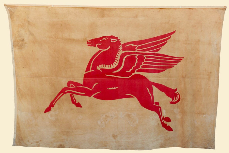General Petroleum Oil Flying Red Horse, Mobil Pegasus Flag, Oversize 8 x 12
