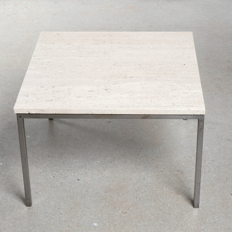 Florence Knoll Travertine Marble Coffee Side Table with Aluminum Base, 3 Available