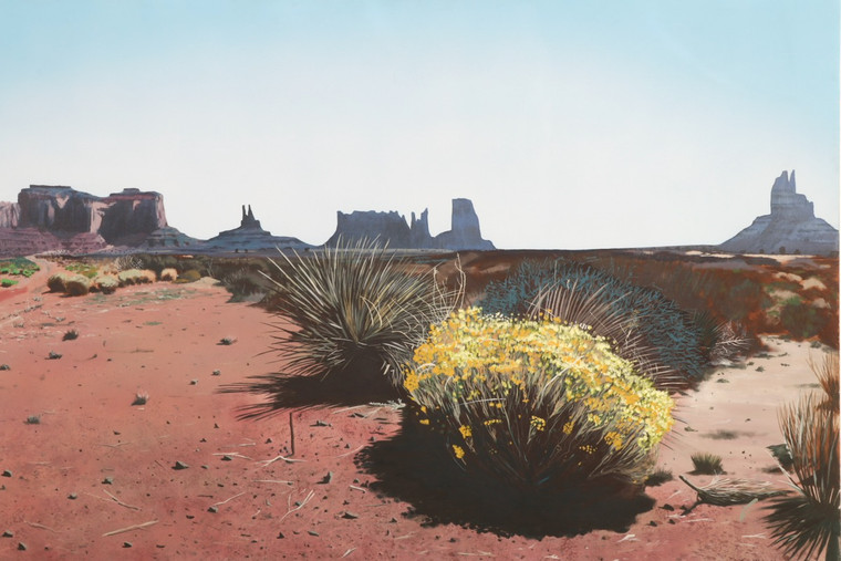 Large Monument Valley Painting by Graham Frank Wright, Hyper Realistic, 1981