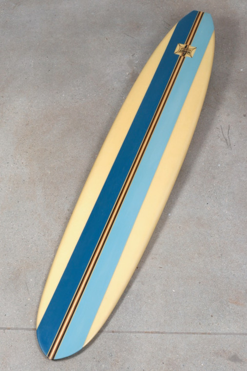 All Original Wardy Surfboard with Blue Stripes c. 1960