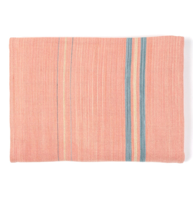 Cotton Blanket Rose with Faded Cornflower and Wheat Stripes  - in stock