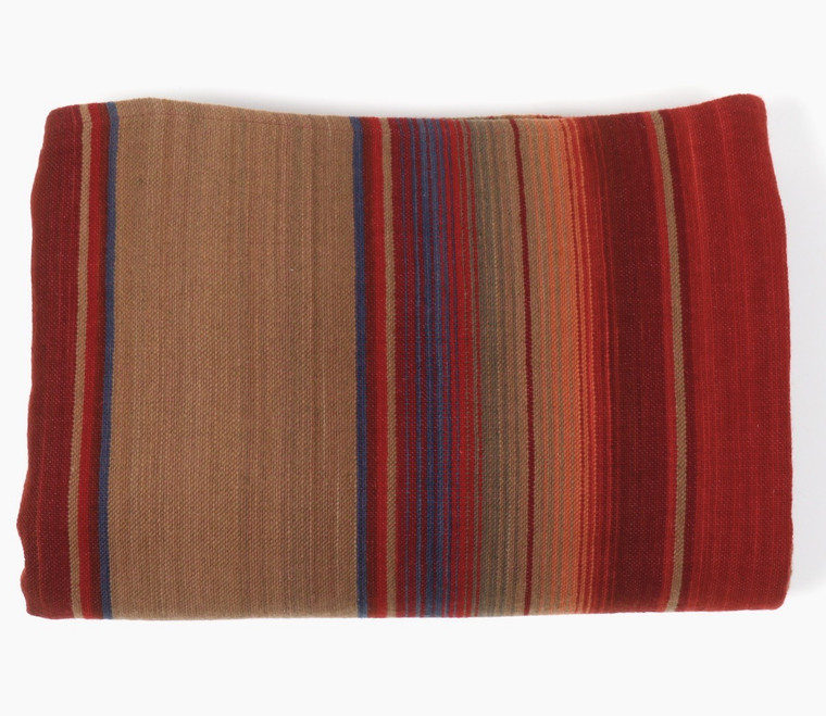 Merino Wool Serape Tomato and Tan with Cool Accents  - in stock