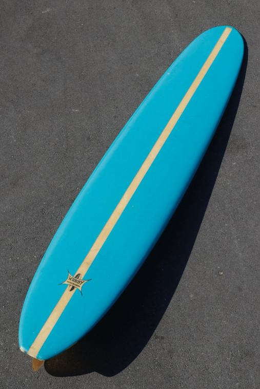 "Wardy Surfboard Aqua with 2"" Balsa Stringer, All Original, 1960s"