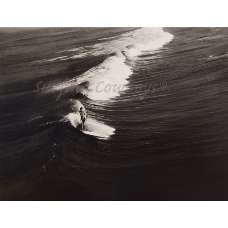 Surfer on Wide Wave Vintage 1930s Black and White Surf Photograph, Framed