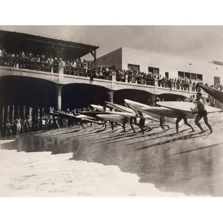 Lifeguard Paddleboard Race Vintage 1930s Black and White Surf Photograph, Framed