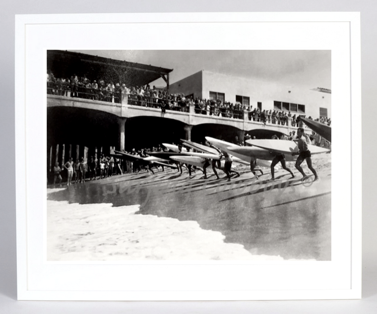 "Hermosa Beach Pier Paddleboard Race c.1930s, Framed 31"" W x 25 3/8"" H"