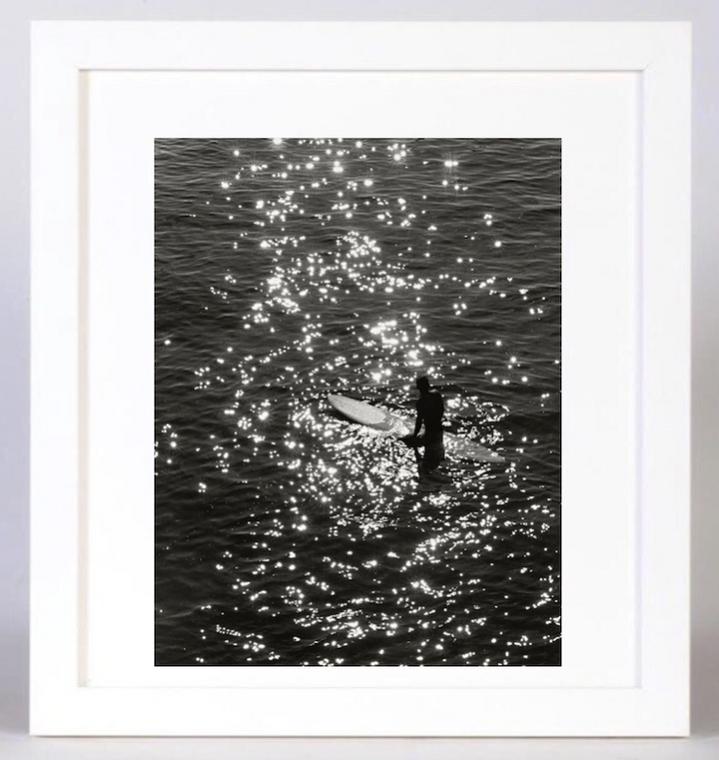 Glimmer Black and White Surf Photo 24 W x 36 H