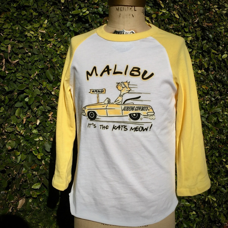 Malibu It's the Kats Meow Youth Yellow and White Raglan T Shirt