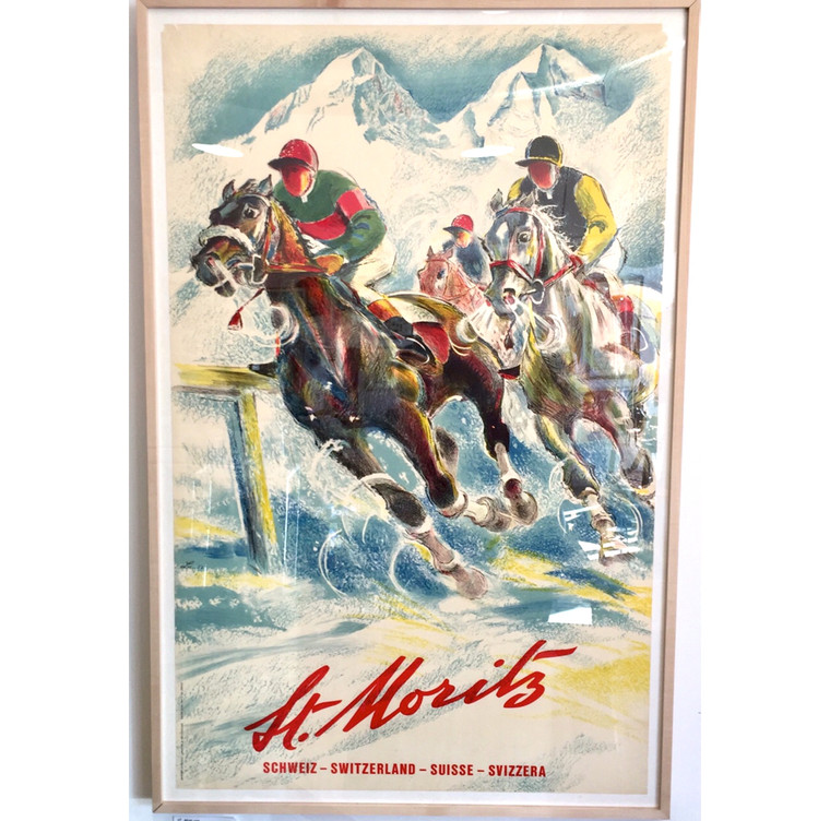 Snow Polo St Moritz Switzerland Original 1950s Travel Poster