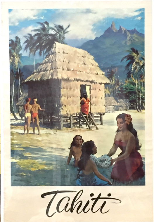 Tahiti Travel Poster, Original Authentic Vintage