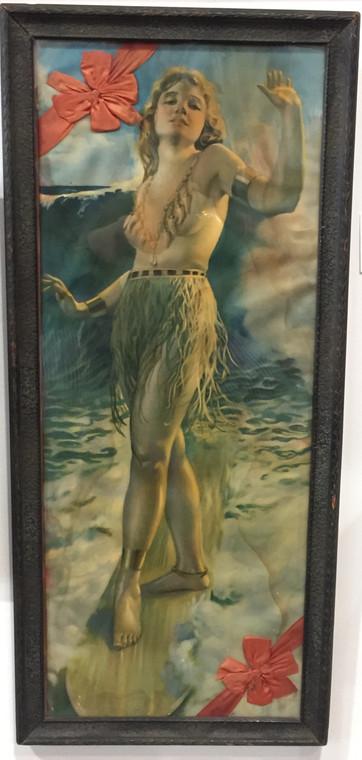 Hawaiian Surfing Woman Print in Frame, Original 1920s
