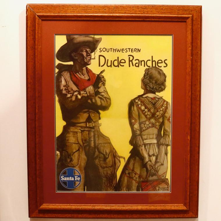 Dude Ranches Western Poster for Santa Fe Railways, 1931 Original