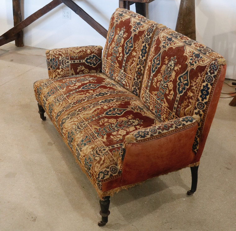Upholstered Two-Seater Setee Sofa French 1920s
