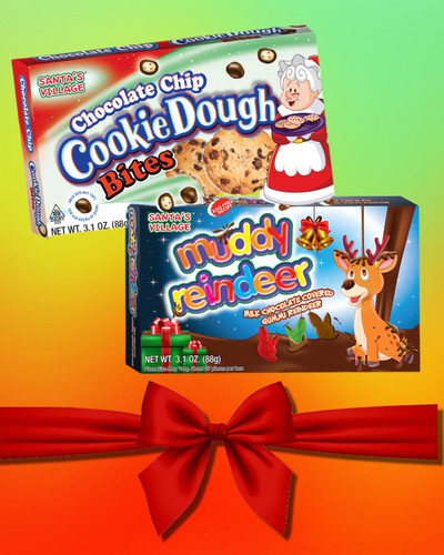 The ultimate gift giving idea for the holidays. chocolate chip cookie dough bites and milk chocolate muddy reindeer gummies.