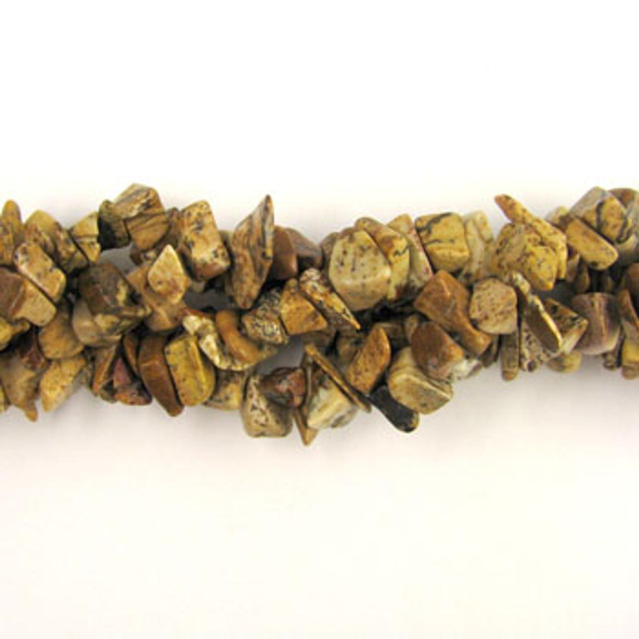 Semi Precious Picture Jasper Chip Beads 36 Inch Strand