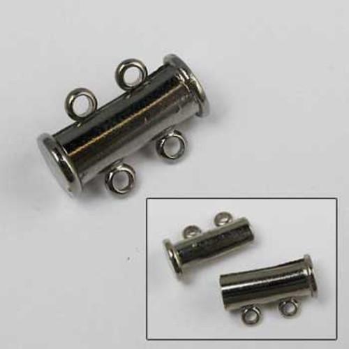 BLP013 - 2-Strand Magnetic Tube Clasp (14mm), Gunmetal Plated (each)