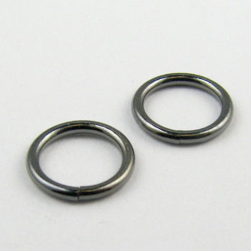 8mm Closed Jump Ring, Gunmetal Plated (pkg of 50)