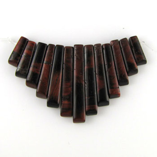 CL0001 - Red Tiger Eye Semi-Precious Stone Collar (13 pieces)