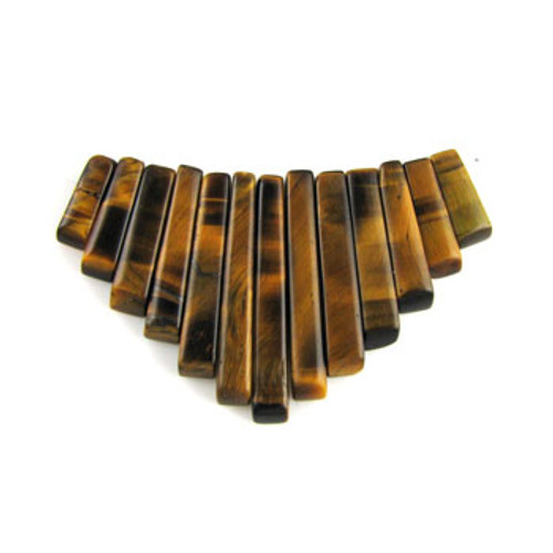 CL0010 - Tiger Eye Semi-Precious Stone Collar (13 pieces)
