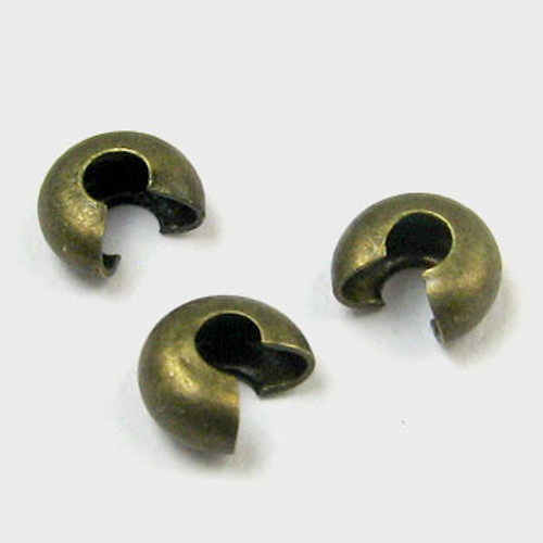 4mm Crimp Cover, Antique Brass Plated (pkg of 50)