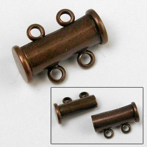 2-Strand Magnetic Tube Clasp (14mm), Antique Copper Plated (each)