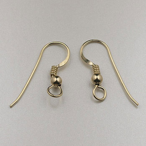 GF0084 - French Ear Wire Spring w/Ball, Gold-Fill (5 pairs)
