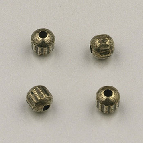 GP0001 - 4mm Fancy Fluted Bead, Antique Oxidized Gold Plate (pkg of 200)