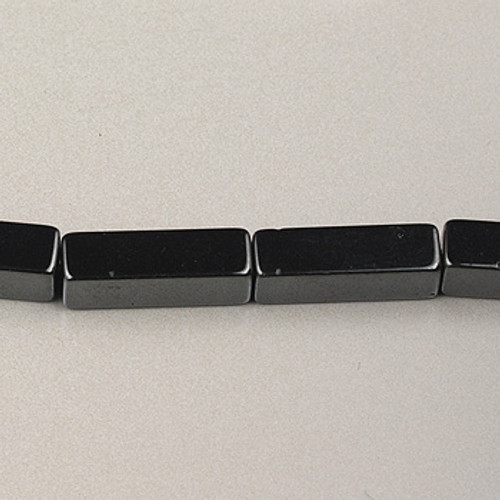 H008 - 4x13mm Rectangle, Hematite (16 in. strand)