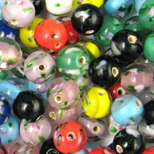 MIX0027 - India Flower Bead Mix - approx. 8mm round (assorted colors) - approx. 58 beads per 50 grams