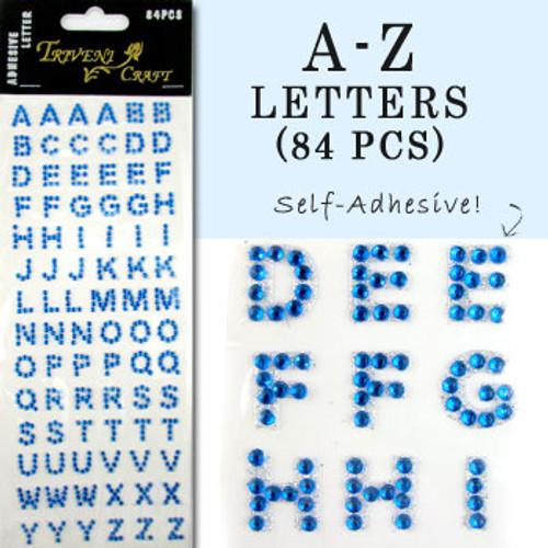 10mm (3/8 in.) Blue Alphabet Letters, Flatback Rhinestones (84 pcs) Self-Adhesive - Easy Peel Strips