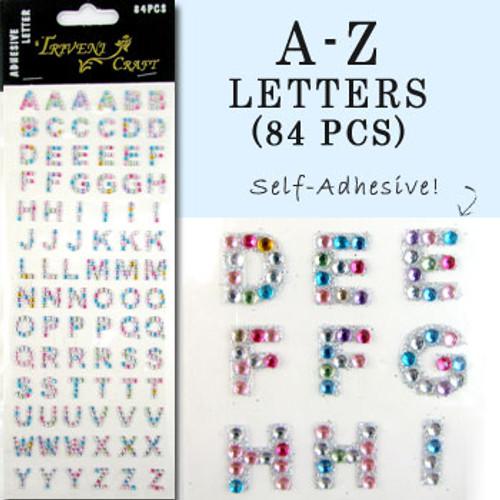 10mm (3/8 in.) Multi-Color Alphabet Letters, Flatback Rhinestones (84 pcs) Self-Adhesive - Easy Peel Strips