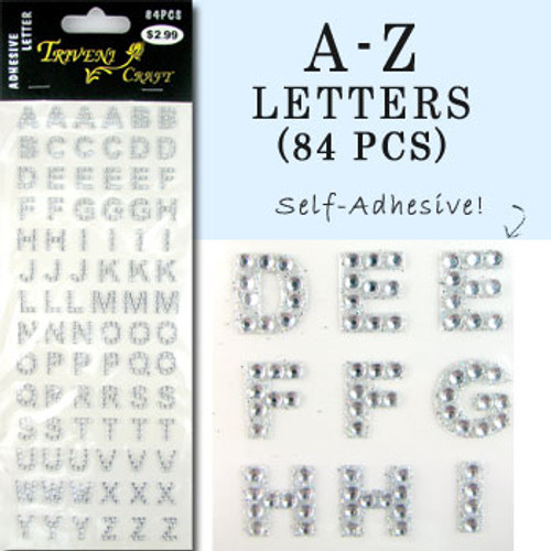 10mm (3/8 in.) Clear Alphabet Letters, Flatback Rhinestones (84 pcs) Self-Adhesive - Easy Peel Strips