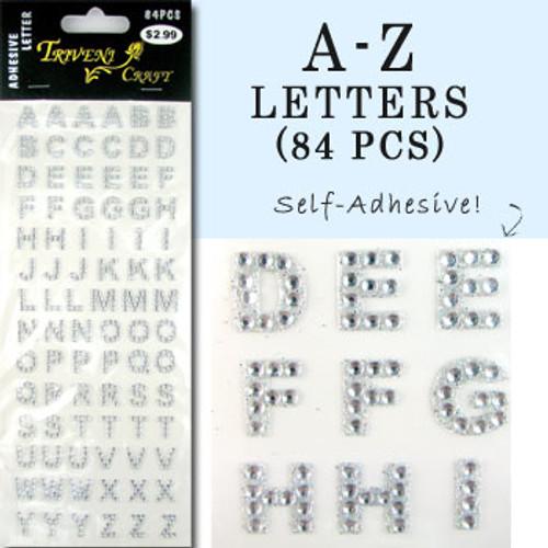 10mm (3/8 in.) Clear Alphabet Letters, Flatback Rhinestones (84 pcs) Self-Adhesive - Easy Peel Strips
