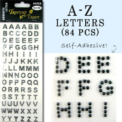 10mm (3/8 in.) Black Alphabet Letters, Flatback Rhinestones (84 pcs) Self-Adhesive - Easy Peel Strips