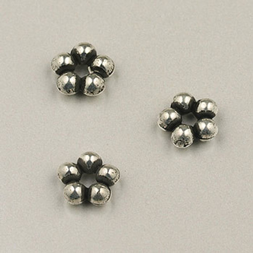 SP0010 - 7mm Daisy Spacer Silver Plate (pkg of 100)