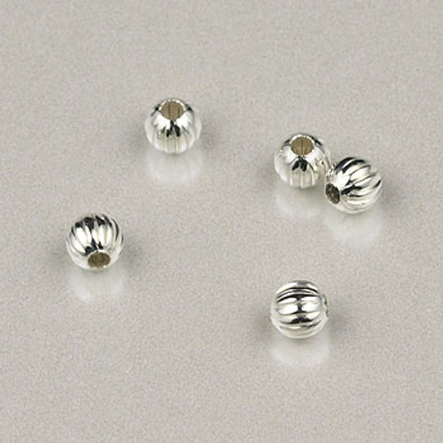 SP0164 - 3mm Fluted Round Silver Plate (pkg of 200)