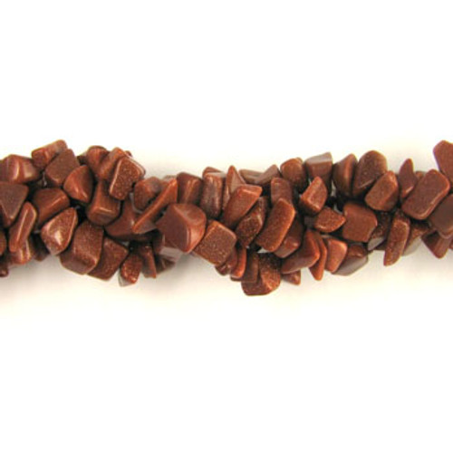 SPSC015 - Brown Goldstone Semi-Precious Stone Chip Beads (36 in. strand)