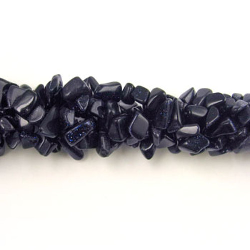 SPSC016 - Blue Goldstone Semi-Precious Stone Chip Beads (36 in. strand)