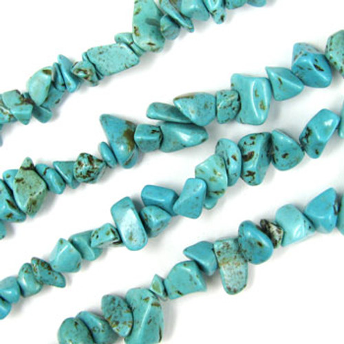 SPSC054 - Turquoise Magnesite Semi-Precious Stone Chip Beads, Dyed (36 in. strand)