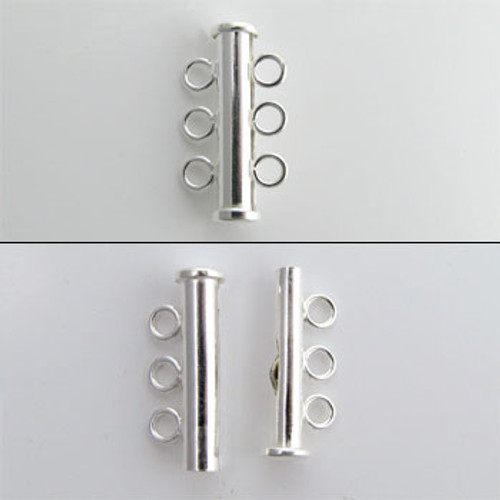 SS0133 - 3-Strand Tube Clasp, Sterling Silver (each)