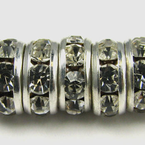 SWR001 - Swarovski Rondelles, Silver Plated, Clear Crystal (36 Pieces)