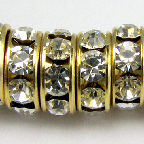 SWR003 - Swarovski Rondelles, Gold Plated, Clear Crystal (36 Pieces)