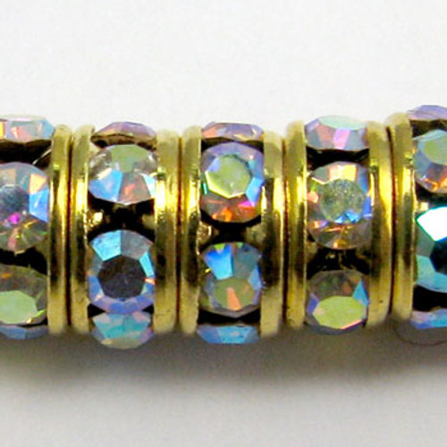 SWR004 - Swarovski Rondelles, Gold Plated, Crystal AB (36 Pieces)