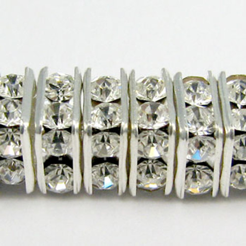 SWR005- Swarovski Squaredelles, Silver Plated, Clear Crystal (36 Pieces)