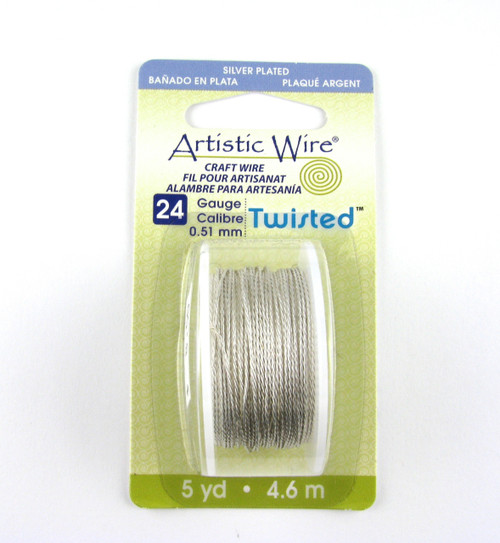 STR0169 - Silver Plated Tarnish Resistant, Twisted, 24 Gauge Artistic Wire (5 yd spool)