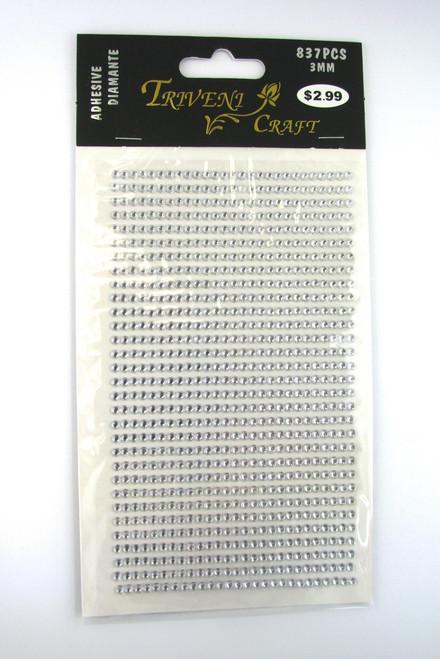3mm Clear Flatback Rhinestones (837 pcs) Self-Adhesive - Easy Peel Strips