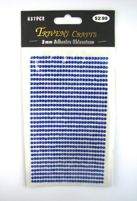 3mm Dark Blue Flatback Rhinestones (837 pcs) Self-Adhesive - Easy Peel Strips
