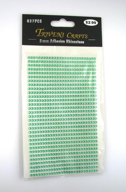 3mm Light Green Flatback Rhinestones (837 pcs) Self-Adhesive - Easy Peel Strips