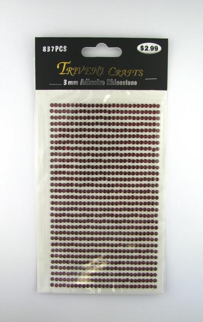 3mm Garnet Flatback Rhinestones (837 pcs) Self-Adhesive - Easy Peel Strips